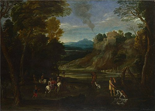 'Giovanni Battista Viola Landscape With A Hunting Party ' Oil Painting, 16 X 22 Inch / 41 X 57 Cm ,printed On High Quality Polyster Canvas ,this High Quality Art Decorative Canvas Prints Is Perfectly Suitalbe For Kitchen Artwork And Home Artwork And Gifts