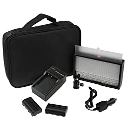 Polaroid PLLED312 312 LED Light with Variable Color Temperature 3200K-5600K for Still Camera And Camcorders Bundle with Accessories (9 Items)