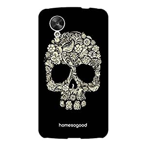 HomeSoGood Gothic Floral Skull Black 3D Mobile Case For LG Nexus 5 (Back Cover)