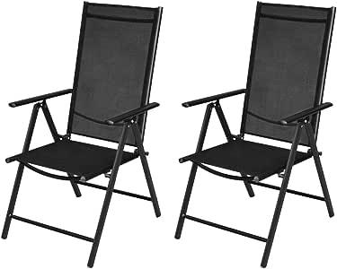 tiauant Mobiliario Mobiliario de Exterior Asientos de Exterior Sillas de Exterior Sillas Plegables de Jardin 2 Piezas Aluminio Negro Fundas para sillas de jardinProfundidad del Asiento: 44 cm: Amazon.es: Jardín