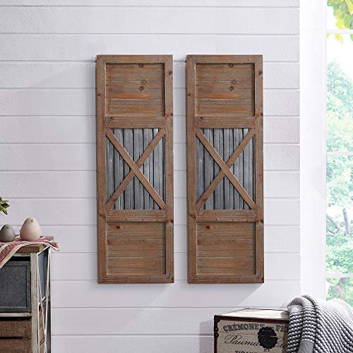 FirsTime & Co. 70039 Raleigh Shutter Wall Plaque Set, 36 H x 12 W, Natural, Antique Silver