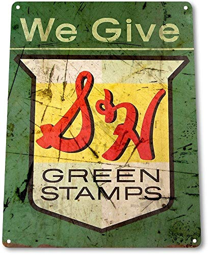 NGFD TIN Sign: B245 S&H Green Stamps Tin Metal Sign Rustic Retro Stamp Metal Sign Decor