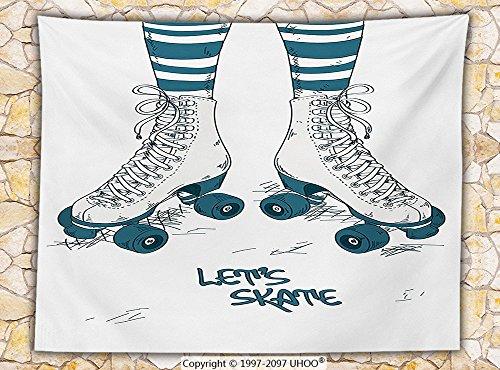 1960s Decor Fleece Throw Blanket Illustration with Girls Legs in Stripes Stockings and Retro Roller Skates Fun Teen Image Throw