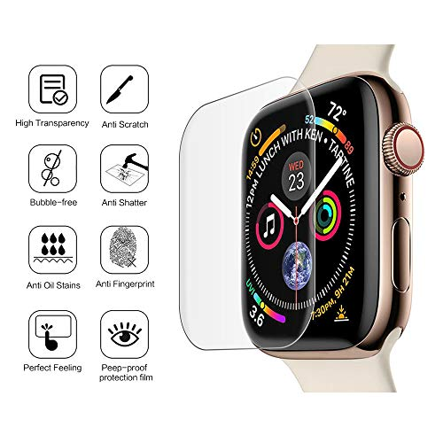 Compatible Apple Watch Band 40mm Screen Protector Series 4 Tempered Glass, 2 Pack Full Coverage Curved Screen Protector Film Replacement for iWatch Screen Protector 40mm - Clear