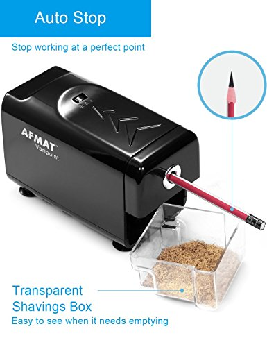 Heavy Duty Electric Pencil Sharpener, Durable Indrustial Pencil Sharpener for Classroom, Helical Blade, Auto Stop, Fast Sharpen in 3s, Suitable for NO. 2 and Colored Pencils, Home, School, Office Use by AFMAT (Image #4)