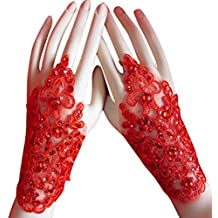 Aivtalk Lace Satin Fingerless Bridal Gloves for Wedding Party Red