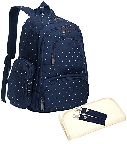 Sleeping Lamb Baby 16 Pockets Waterproof Durable Fabric Travel Backpack Diaper Bag with Changing Pad 3 Pieces Set (Dark Blue Dot)