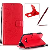 Strap Case for Samsung Galaxy J1 Ace,Wallet Leather Cover for Samsung Galaxy J1 Ace,Herzzer Classic Elegant [Red Butterfly Pattern] PU Leather Fold Stand Card Holders Smart Phone Case for Samsung Galaxy J1 Ace + 1 x Free Red Cellphone Kickstand + 1 x Free Claret-Red Stylus Pen