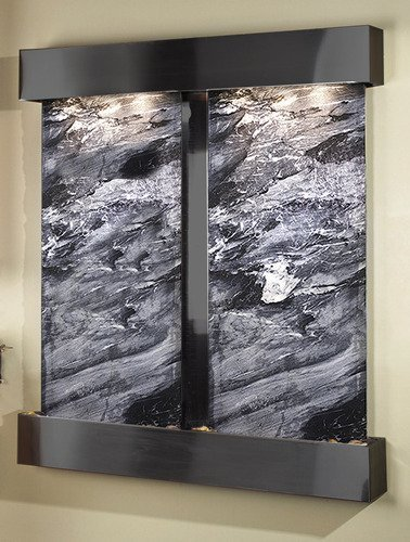 Adagio Cottonwood Falls Wall Fountain Black Spider Marble Blackened Copper - CFS1507