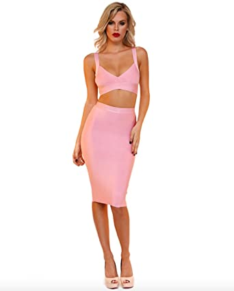 a233f50ebde330  quot Aria quot  Sexy Pink Bralette Top with Pencil Skirt Two Piece ...