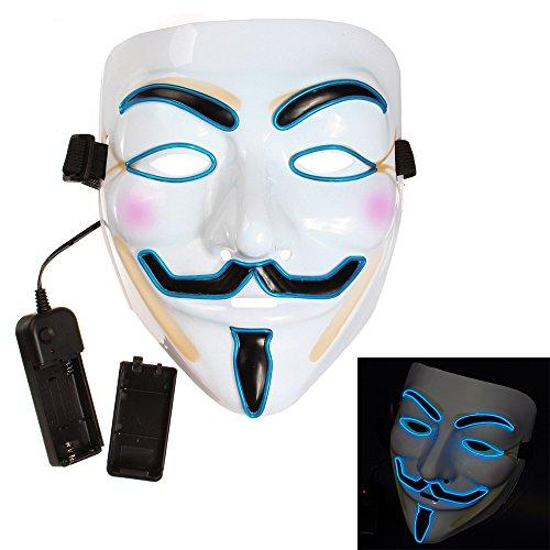 Bonamana Cool V for Vendetta Guy Fawkes Mask LED Light Up Mask Costume EL Wire Halloween Mask (V For Vendetta Masks)