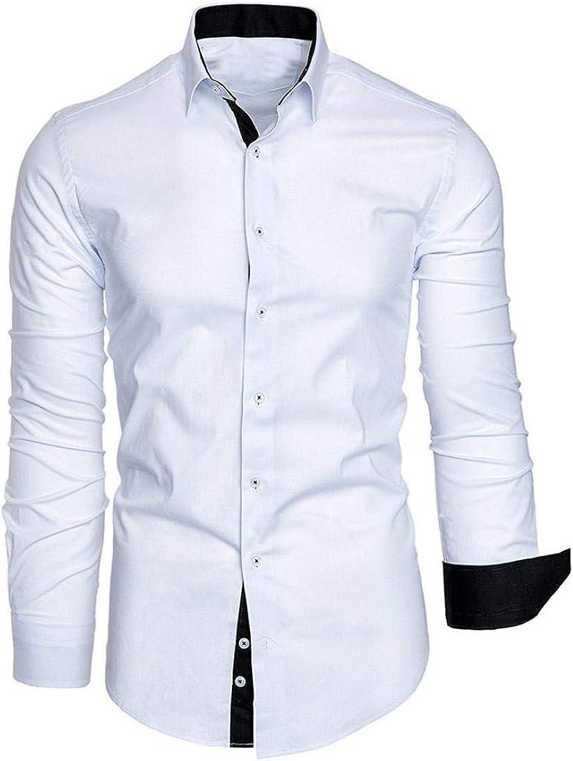 Camisa de Vestir de Manga Larga de Corte Recto sólido Formal ...