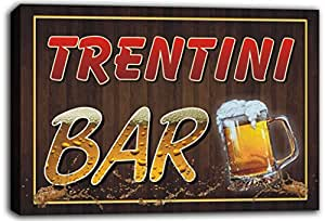 scw3-078007 TRENTINI Name Home Bar Pub Beer Mugs Cheers Stretched Canvas Print Sign