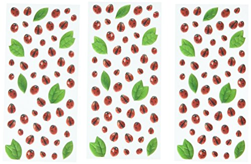 Paper House Productions STP-0054E Ladybugs Stickers, Puffy (3-Pack) (Lady Bug Scrapbook Paper)