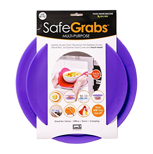Safe Grabs Seen on Shark Tank: Multi-Purpose Silicone Microwave Mat, BPA Free Kitchen Tool, Set of 2, Purple
