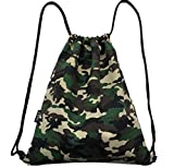 WISWIS Camouflage Canvas Drawstring Bags Team Training Gymsack Outdoor Sackpack Shopping Backpack (Military Camo) Review
