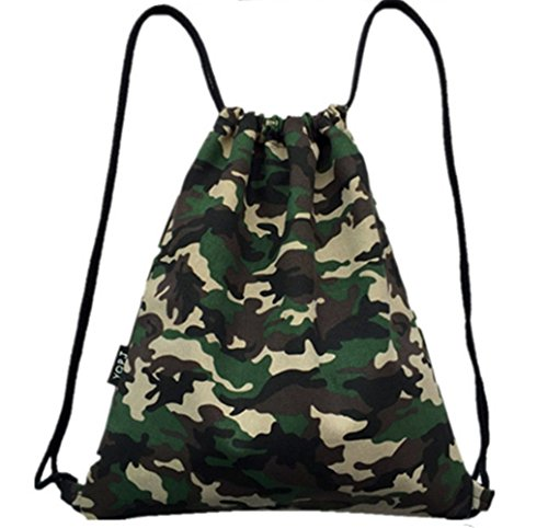 WISWIS Camouflage Canvas Drawstring Bags Team Training Gymsack Outdoor Sackpack Shopping Backpack­ (Military Camo) Review