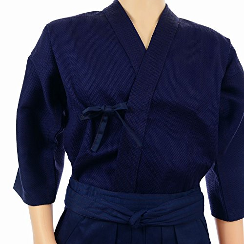 POJ Japanese Traditional Martial Arts(Budou) Jacket for Kendo Aikido [ M / L / XL Size Color Navy Blue for Unisex ] (Qi Xl Halloween)