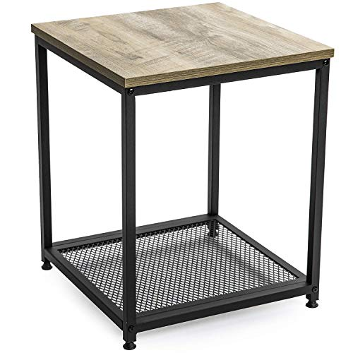 Ballucci Vintage Side Table, 2-Tier End Table with Storage Shelf, with Metal Frame and Mesh, Wood Look Accent for Living Room, Rustic Grey