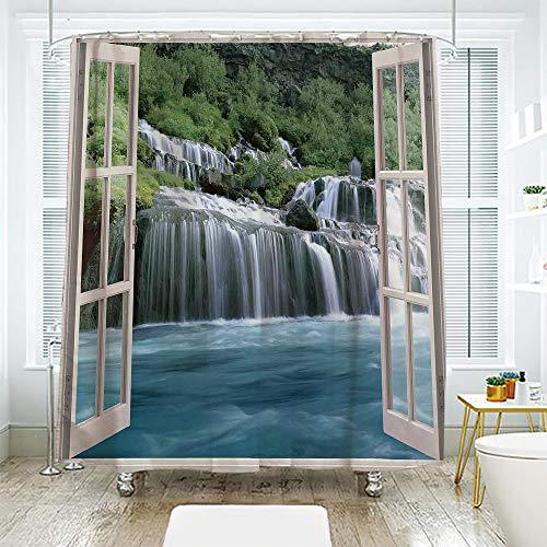 scocici Bath Curtain Suit Bathroom Waterproof Curtain Bath Curtain,House Decor,Majestic Waterfall Landscape Through A Window Imaginary Secret Paradise at Home Decor,Blue Green,78.7