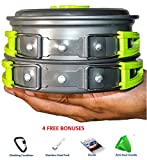 CAMPING COOKWARE MESS KIT WITH FREE GIFTS | Most Complete Outdoors Equipment Gear & Hiking Pack | Backpacking Compact Pans Set Bug Out Bag Supplies | Lightweight Pot Pan Bowls for Fishing Camp Cooking