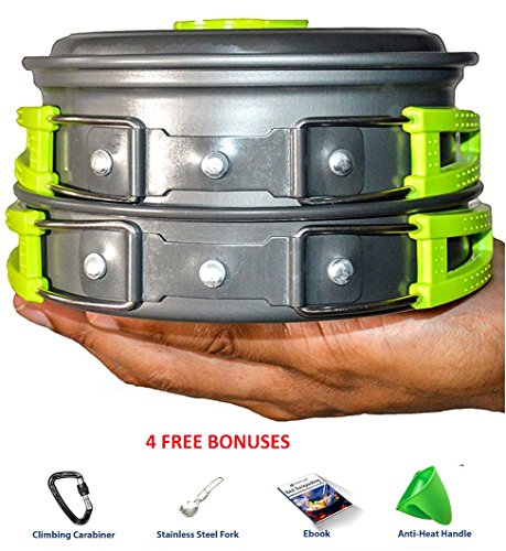 CAMPING COOKWARE MESS KIT WITH FREE GIFTS | Most Complete Outdoors Equipment Gear & Hiking Pack | Backpacking Compact Pans Set Bug Out Bag Supplies | Lightweight Pot Pan Bowls for Fishing Camp Cooking (Multi Compact Cookset)