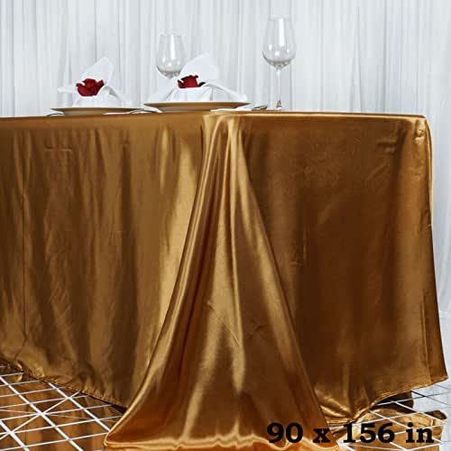 Efavormart 90x156 Rectangle Gold Wholesale Satin Tablecloth Banquet Linen Wedding Party Restaurant Tablecloth