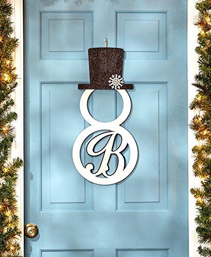 """Monogram """"B """" Snowman Door Hanger"""