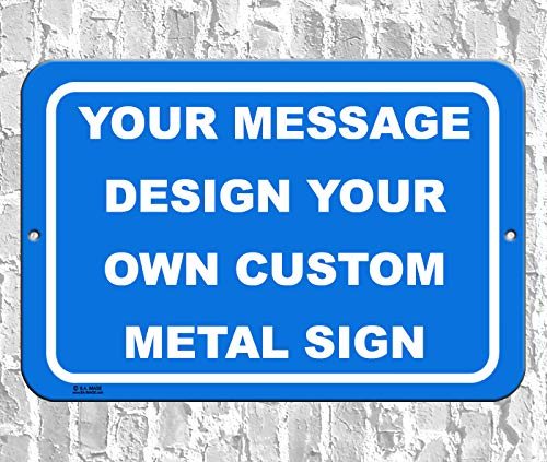 BA IMAGE Personalized Custom Blue 011 Aluminum Metal Sign with Your Name! (12x18 Blue w/White, Horizontal)