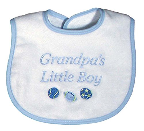(Raindrops Grandpa's Little Boy Embroidered Bib, Blue )