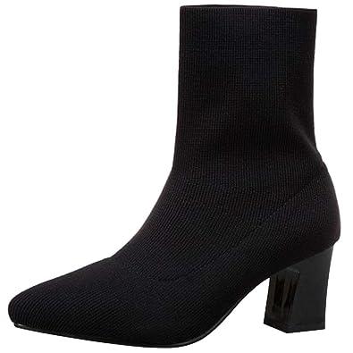 RAZAMAZA Mujer Otoño Botas Cortas Tejer Tacón Ancho  Amazon.es  Zapatos y  complementos a840aba36e42b
