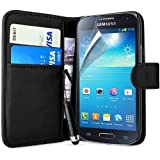 Black Premium Flip Wallet Pocket Case For Samsung Galaxy S4 Mini I9190 + Screen Protector + Polishing Cloth & Mini Touch Screen Stylus By Connect Zone®
