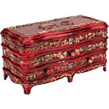 Tuelip Antique Rosewood Classic Plastic Jewelry and Make-up Vanity Box, Red