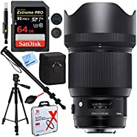 Sigma 85mm F1.4 DG HSM Art Full-Frame Sensor Lens for Canon EF Mount with 86mm UV Filter Plus 64GB Accessories Bundle