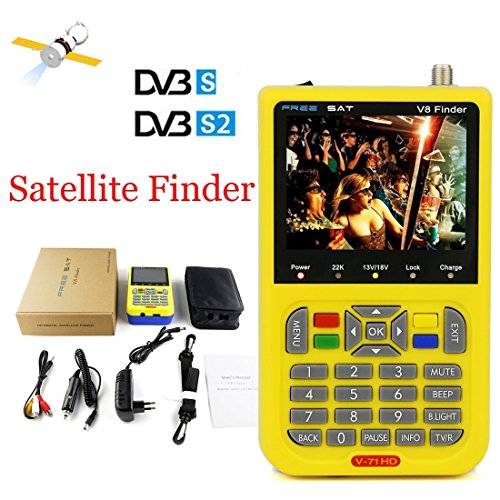 Genuine Digital Free Sat Finder 1080P Full HD MPEG-4 DVB-S2 Satellite Signal Meter with 3.5 Inch LCD Display, FTA LNB Signal Pointer Satellite TV Receiver Tool for Dish