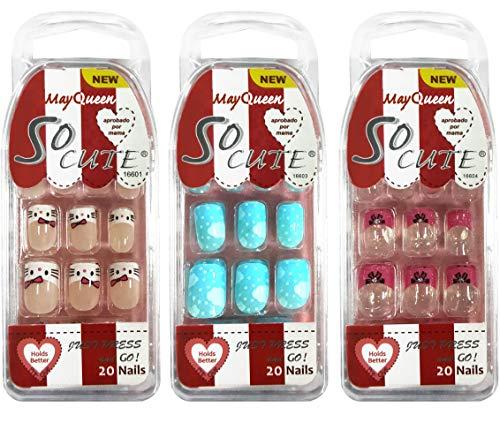 Beautia 3 Pack So Cute Junior Nail for Kids 16601/16603/16604 (Sticker Nails)
