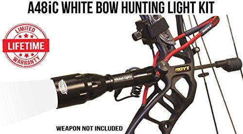 Predator Bow (Wicked Lights A48iC White Bow Hunting Light Kit for Bow Fishing, Predator & Hog Night Hunting)