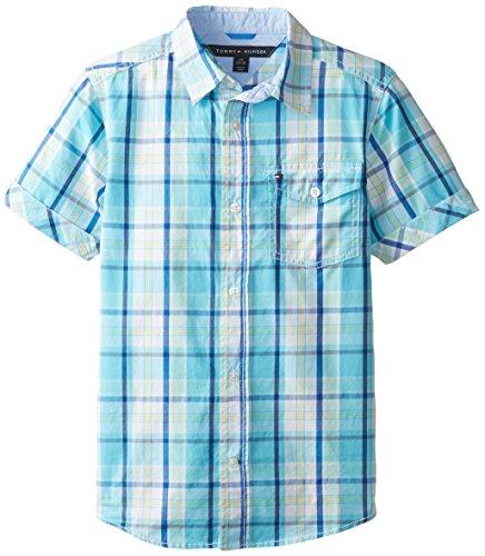 Tommy Hilfiger Big Boys' Short Sleeve Bright Yarn Dye Poplin Plaid Shirt, Serenity Blue, Small