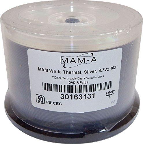 MAM-A 50-Pack 4.7V2 16X Silver DVD-R 30163131-50PK 120mm RecordableDigital Disc by .MAM-A.