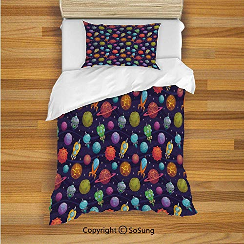 Teflon Cylinder Set - SoSung Space Kids Duvet Cover Set Twin Size, Cartoon Style Alien Planets with Different Environments and Spacecrafts and Stars Decorative 2 Piece Bedding Set with 1 Pillow Sham,Multicolor