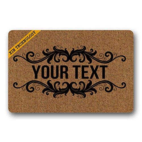 Artsbaba Doormat Personalized Your Text Door Mat Black Frame Design Doormats Monogram Non-Slip Doormat Non-Woven Fabric Floor Mat Indoor Entrance Rug Decor Mat 23.6