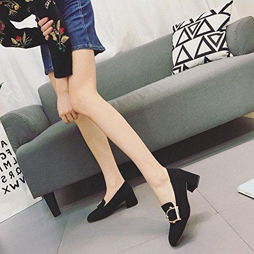 Grueso con la Cabeza Cuadrada con un Solo Calzado Mujeres Sienten cm Hebilla Cuadrada Todos Los Zapatos de Partido , negro , EUR37