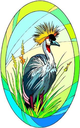 Amazoncom Tropical Crane Bird With Crown In Grass Etched Vinyl - Bird window stickers amazon