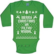 Merry Christmas Ya Filthy Animal Ugly Christmas Sweater Contest Party Xmas Baby Long Sleeve One Piece