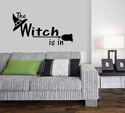 BIBITIME Halloween Wall Decals Sayings Witch Vinyl Quotes Sorceress Magic Hat Broom Decor Sticker for Living Room Party PVC Decorations Shop Showcase Display Window