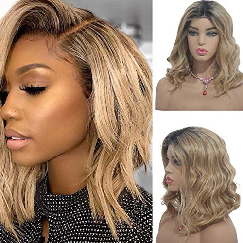 (Body Wave Bob Lace Wigs Ombre Color Virgin Human Hair Lace Front Wigs for Black Women Natural Wave Short Wavy 13x4 Frontal Lace Wig Middle Part 12 Inch)
