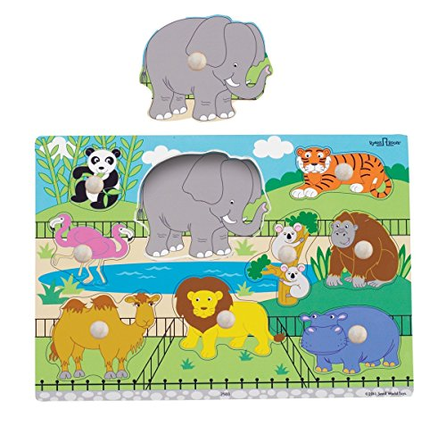 Puzzle Zoo Shaped Animals (Small World Toys Ryan's Room Wooden Puzzle - Zoo Animals)