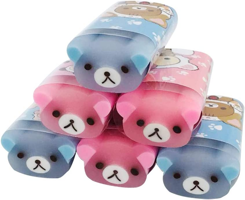 CrazyCharlie Cute Pencil Erasers,6pack Kawaii Animal Erasers Bear Shaped Cylindrical Erasers for Kids Students