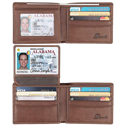 RFID Blocking Cowhide Leather Bifold Wallet for Men with 2 ID Windows(Brown- Sheepskin Leather)