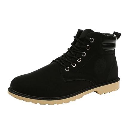 Xinantime - Botas de Tobillo de Hombre Botas de Piel sintética Zapatos de Cordones cálidos de otoño Invierno Martin Boots Zapatos de Hombre (43, ...